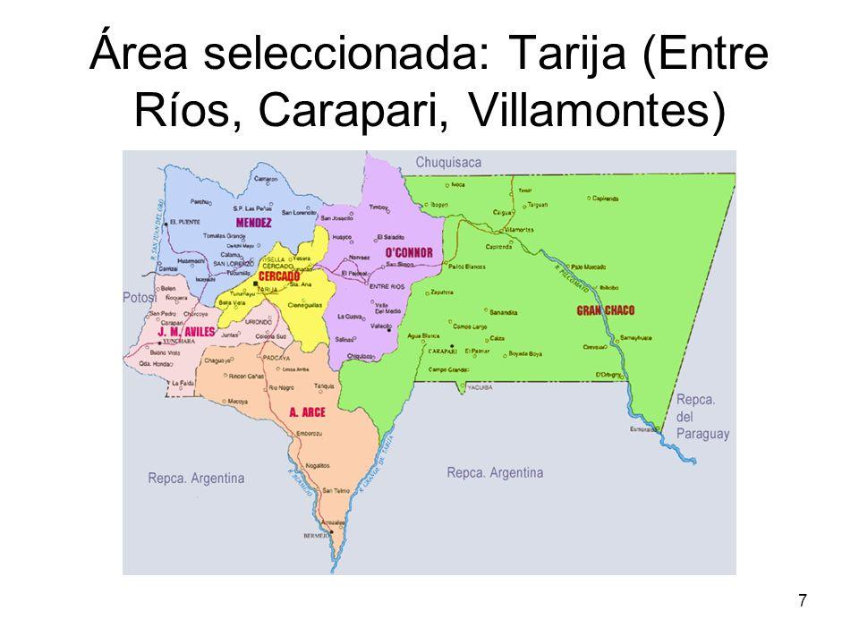 Área seleccionada: Tarija (Entre Ríos, Carapari, Villamontes)