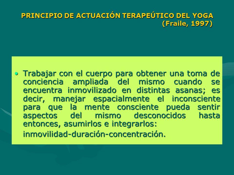 PRINCIPIO DE ACTUACIÓN TERAPEÚTICO DEL YOGA (Fraile, 1997)