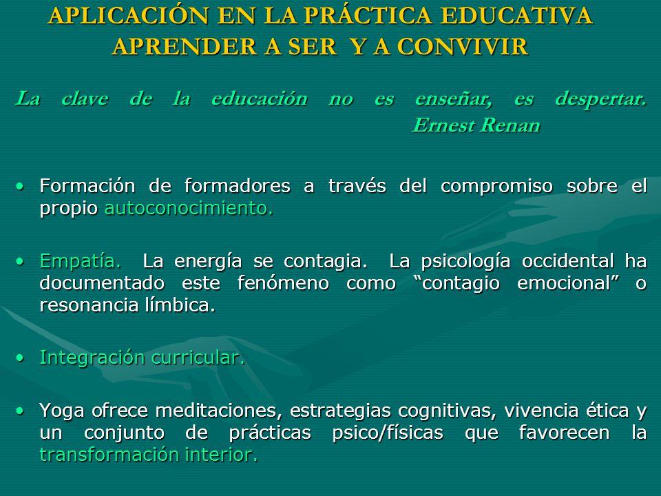 APLICACIÓN EN LA PRÁCTICA EDUCATIVA APRENDER A SER Y A CONVIVIR