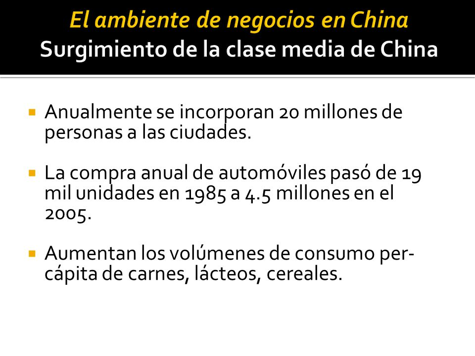 El ambiente de negocios en China Surgimiento de la clase media de China