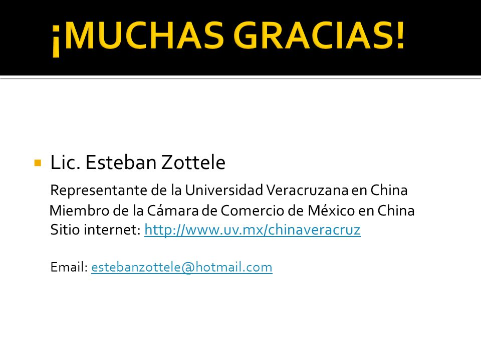 ¡MUCHAS GRACIAS! Lic. Esteban Zottele