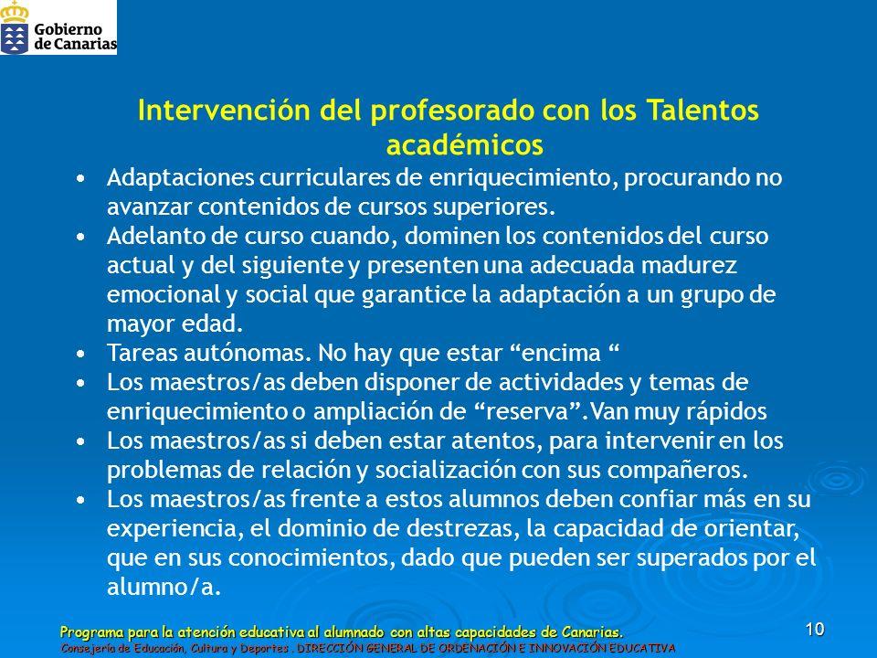 Intervención del profesorado con los Talentos académicos