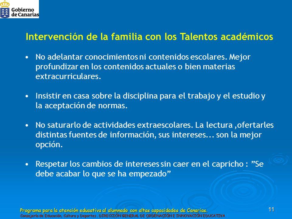Intervención de la familia con los Talentos académicos