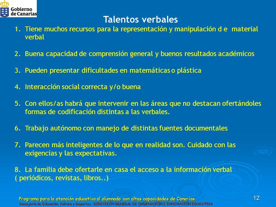 Talentos verbales Tiene muchos recursos para la representación y manipulación d e material verbal.