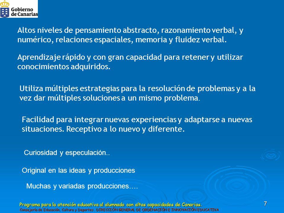 Altos niveles de pensamiento abstracto, razonamiento verbal, y numérico, relaciones espaciales, memoria y fluidez verbal.