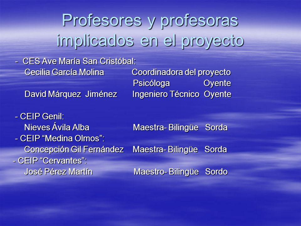 Profesores y profesoras implicados en el proyecto