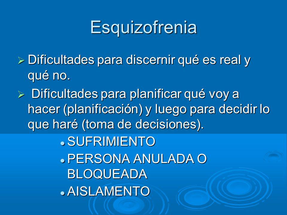 Esquizofrenia Dificultades para discernir qué es real y qué no.