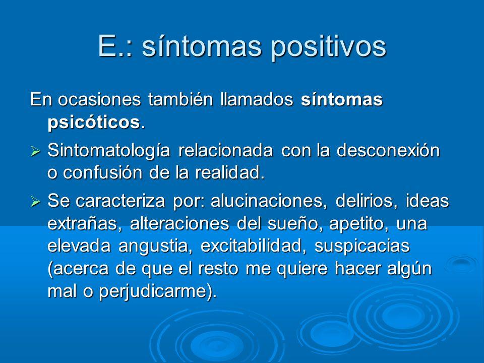 E.: síntomas positivos En ocasiones también llamados síntomas psicóticos.