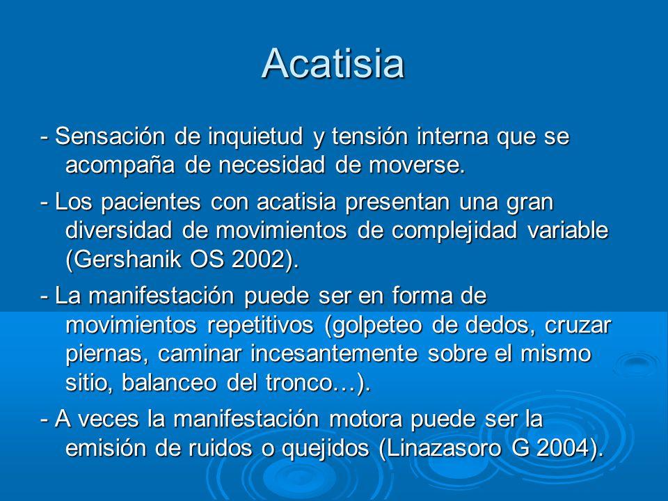 Acatisia - Sensación de inquietud y tensión interna que se acompaña de necesidad de moverse.