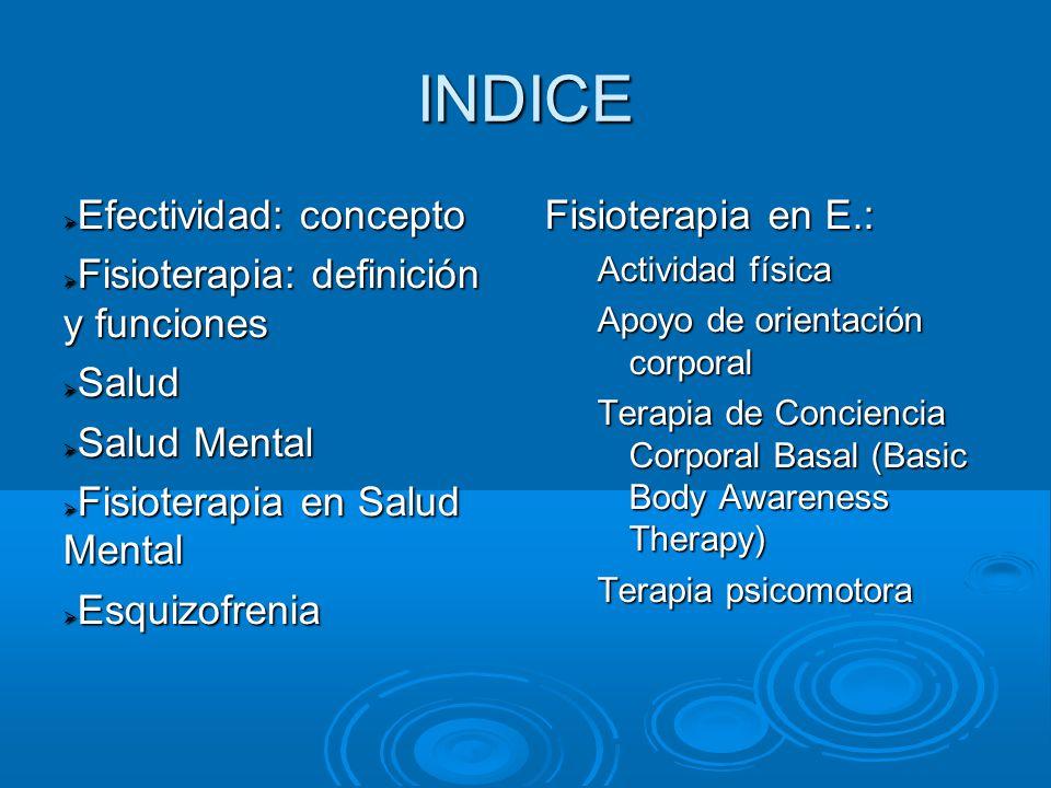 INDICE Efectividad: concepto Fisioterapia: definición y funciones