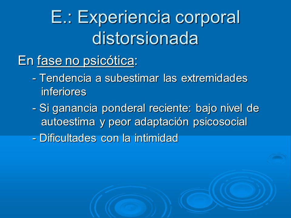 E.: Experiencia corporal distorsionada