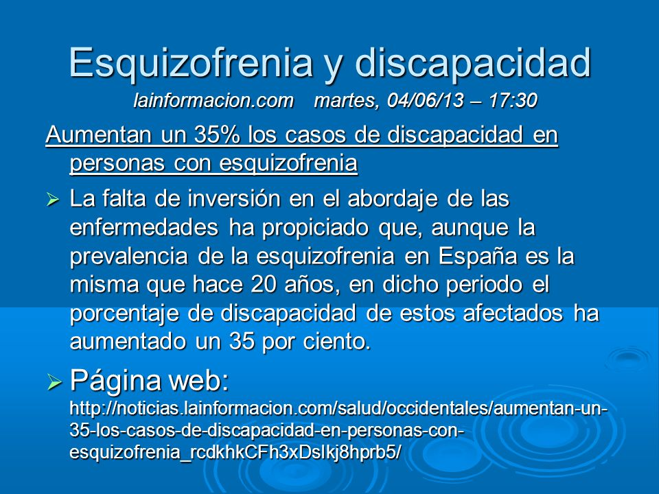 Esquizofrenia y discapacidad