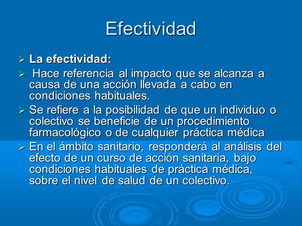 Efectividad La efectividad: