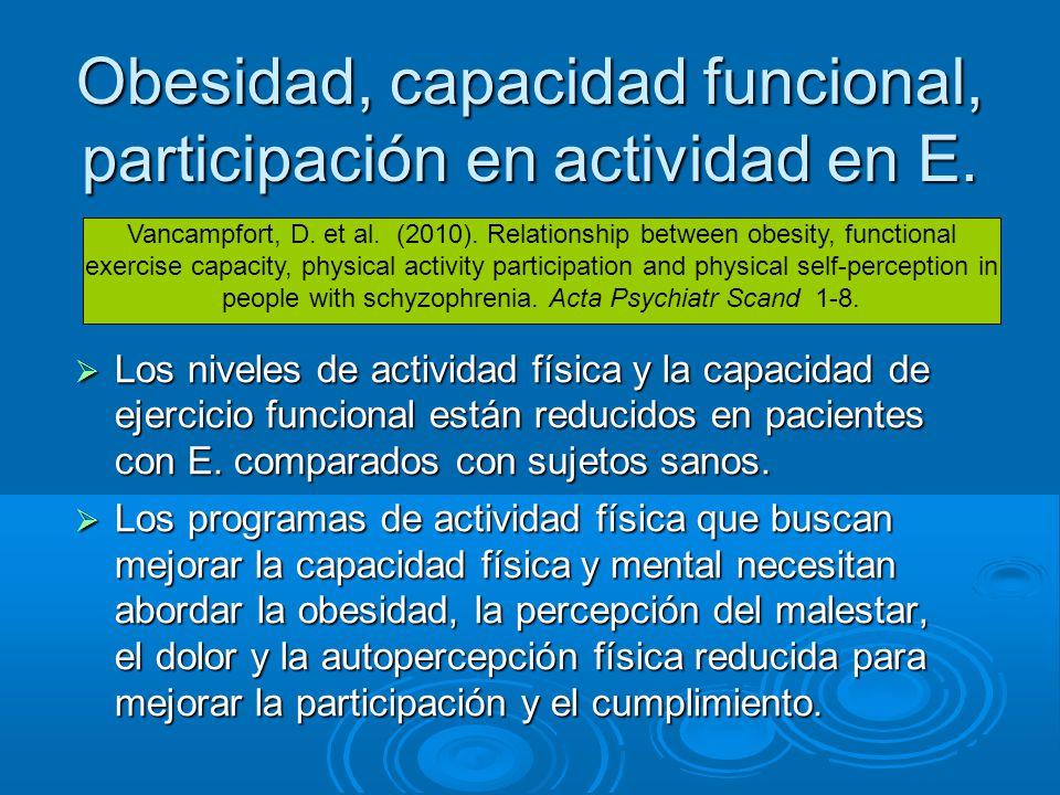 Obesidad, capacidad funcional, participación en actividad en E.