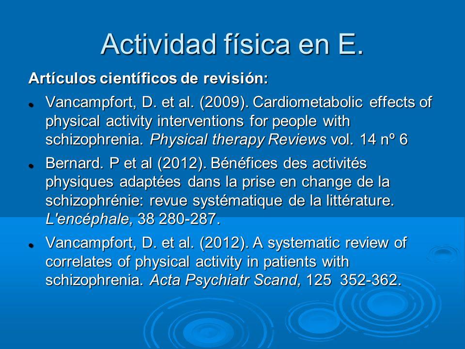 Actividad física en E. Artículos científicos de revisión: