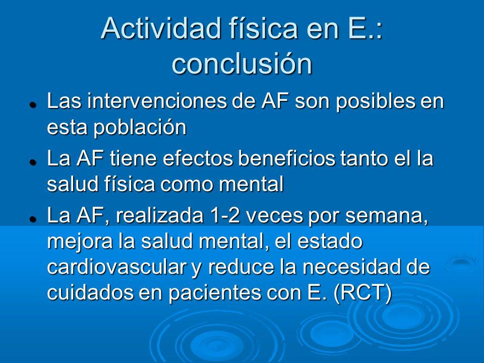 Actividad física en E.: conclusión