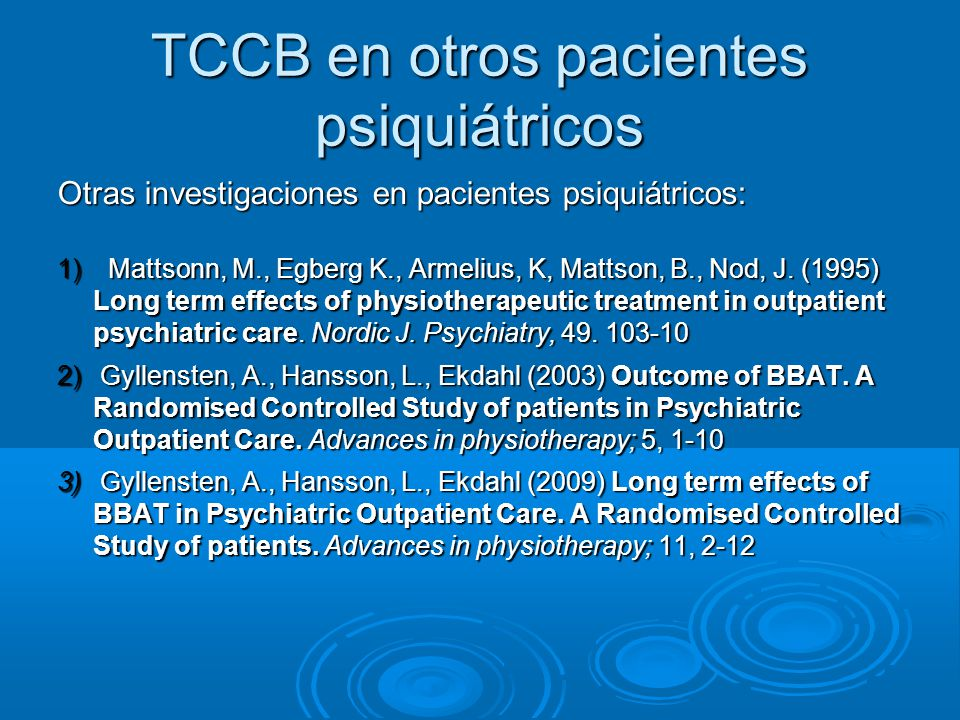 TCCB en otros pacientes psiquiátricos