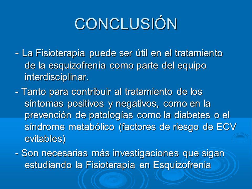 CONCLUSIÓN - La Fisioterapia puede ser útil en el tratamiento de la esquizofrenia como parte del equipo interdisciplinar.