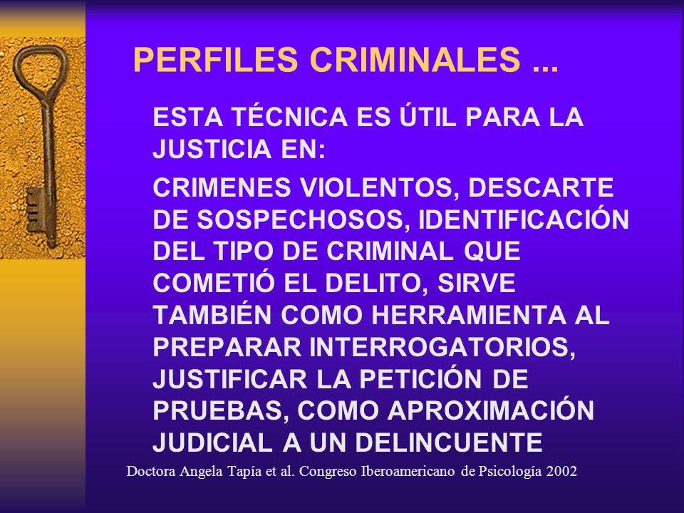 PERFILES CRIMINALES ... ESTA TÉCNICA ES ÚTIL PARA LA JUSTICIA EN: