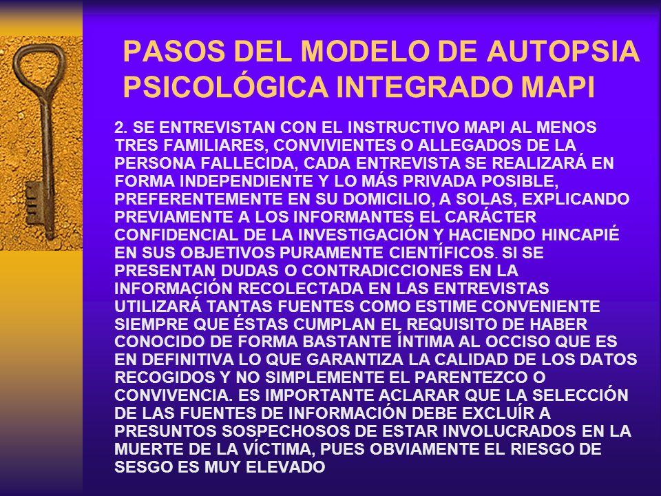 PASOS DEL MODELO DE AUTOPSIA PSICOLÓGICA INTEGRADO MAPI