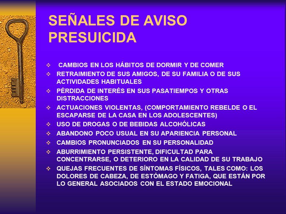 SEÑALES DE AVISO PRESUICIDA