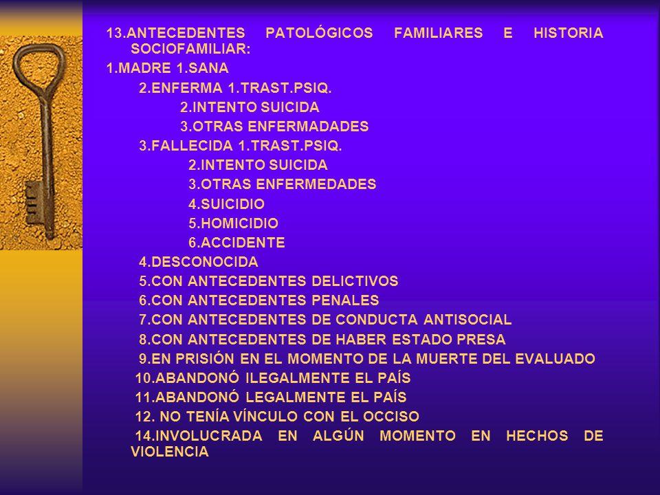 13.ANTECEDENTES PATOLÓGICOS FAMILIARES E HISTORIA SOCIOFAMILIAR: