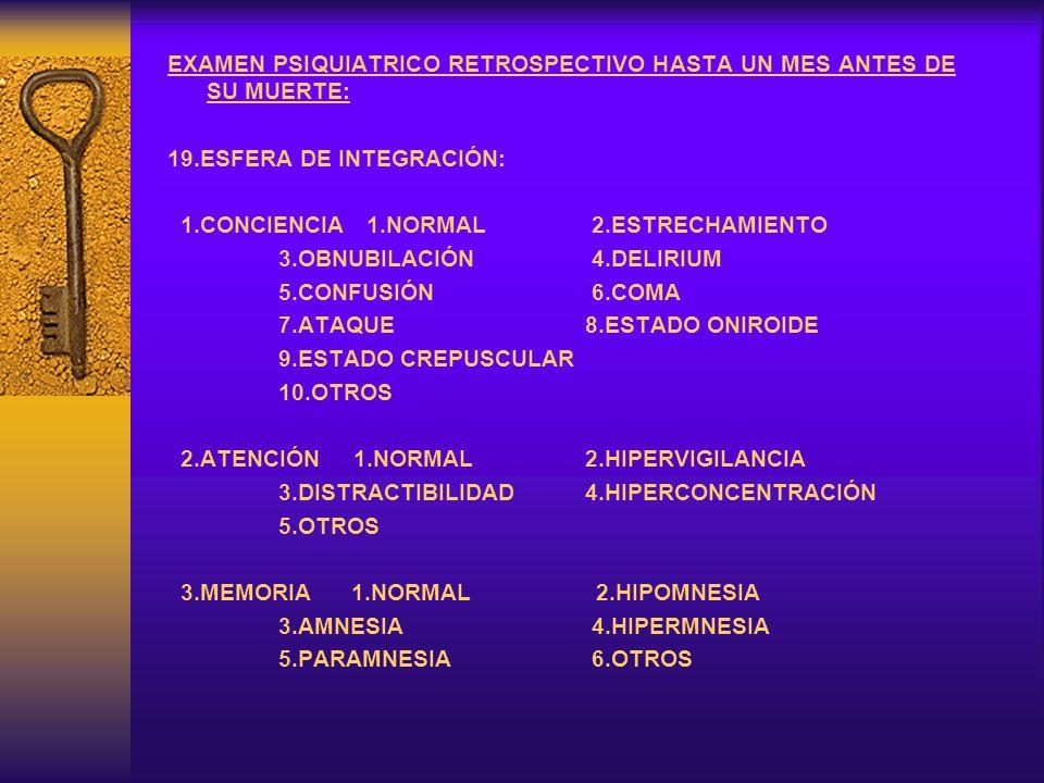 EXAMEN PSIQUIATRICO RETROSPECTIVO HASTA UN MES ANTES DE SU MUERTE: