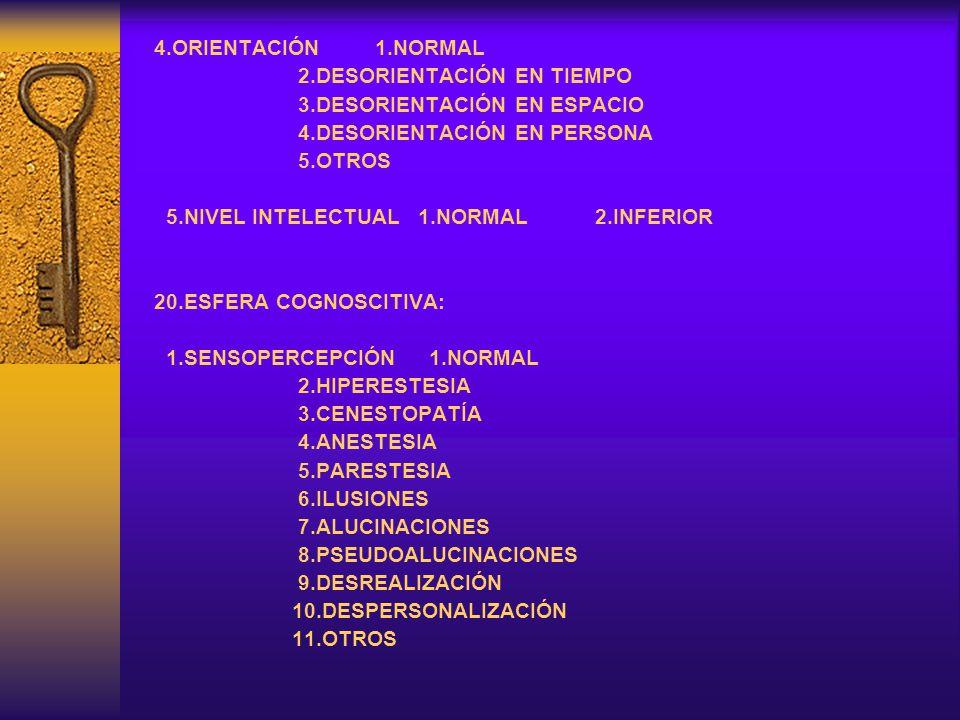 4.ORIENTACIÓN 1.NORMAL 2.DESORIENTACIÓN EN TIEMPO. 3.DESORIENTACIÓN EN ESPACIO. 4.DESORIENTACIÓN EN PERSONA.