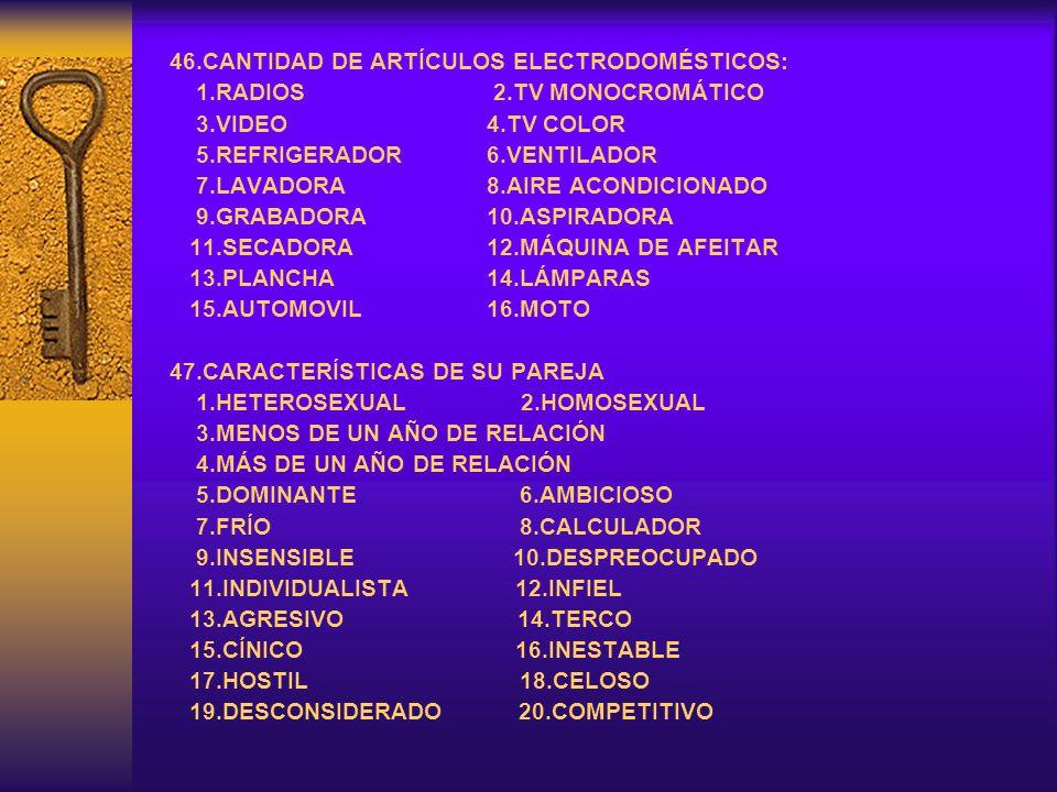 46.CANTIDAD DE ARTÍCULOS ELECTRODOMÉSTICOS: