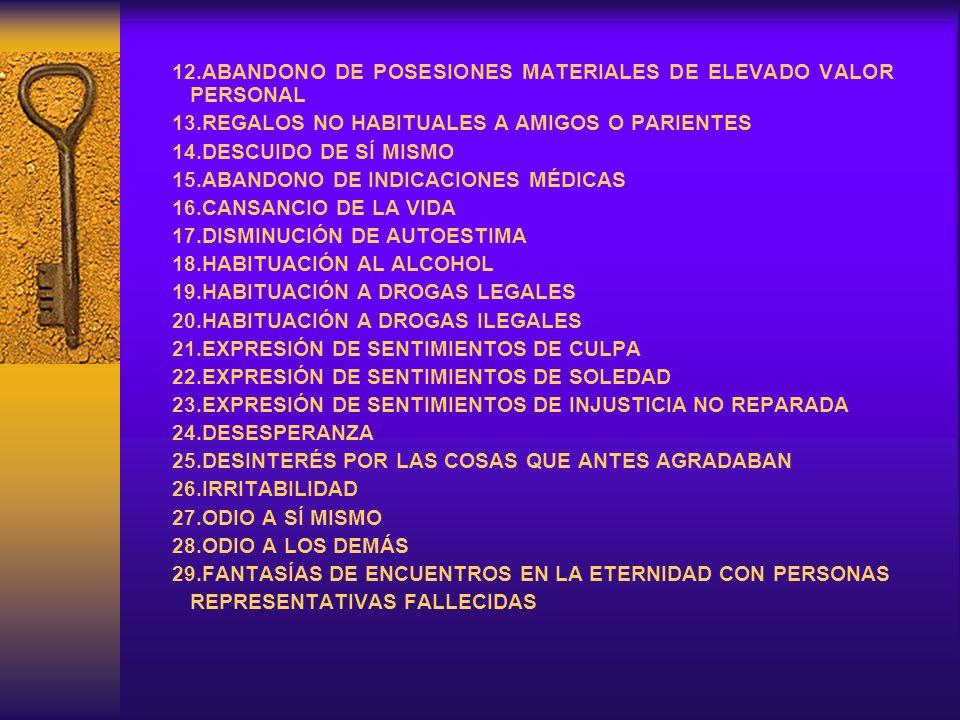 12.ABANDONO DE POSESIONES MATERIALES DE ELEVADO VALOR PERSONAL