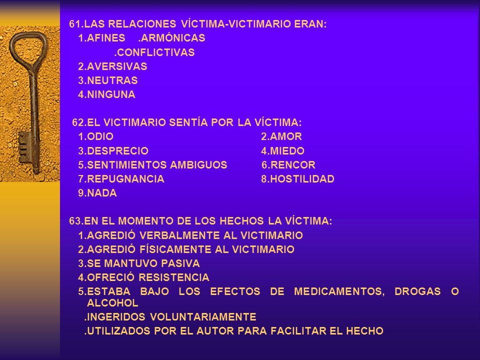 61.LAS RELACIONES VÍCTIMA-VICTIMARIO ERAN: