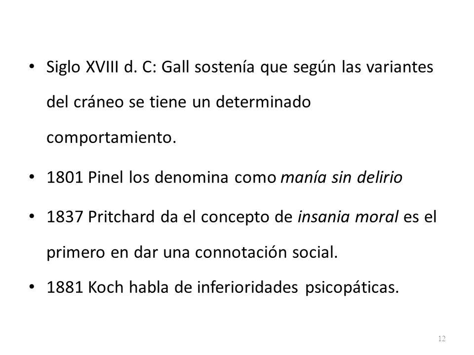 Siglo XVIII d. C: Gall sostenía que según las variantes del cráneo se tiene un determinado comportamiento.
