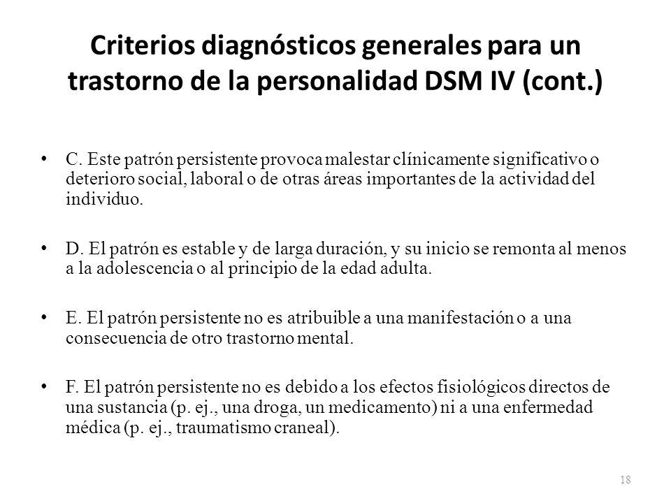 Criterios diagnósticos generales para un trastorno de la personalidad DSM IV (cont.)