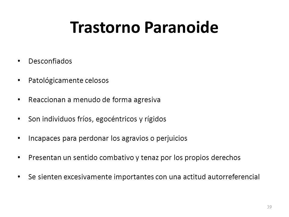 Trastorno Paranoide Desconfiados Patológicamente celosos
