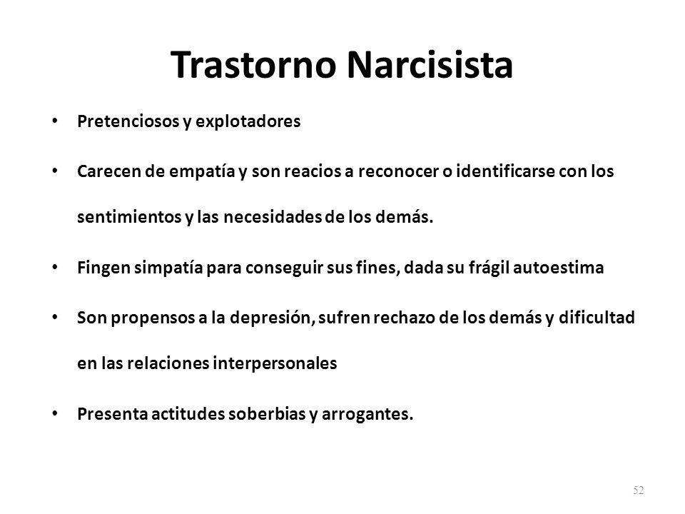 Trastorno Narcisista Pretenciosos y explotadores