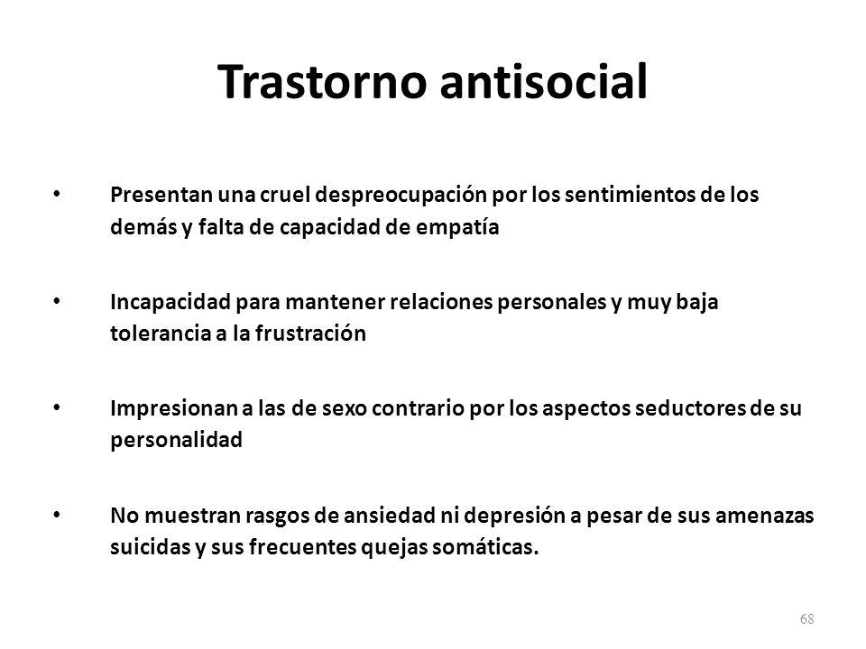 Trastorno antisocial Presentan una cruel despreocupación por los sentimientos de los demás y falta de capacidad de empatía.