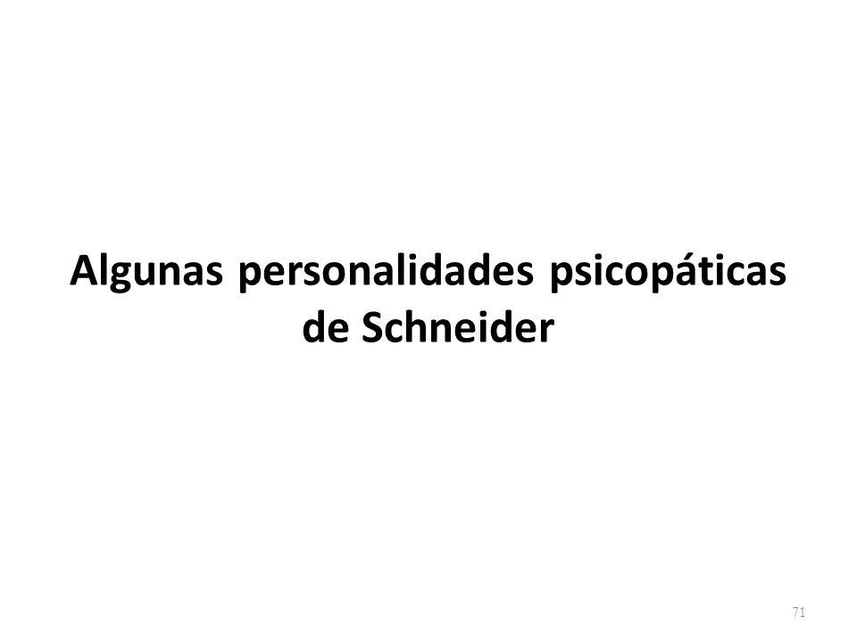 Algunas personalidades psicopáticas de Schneider