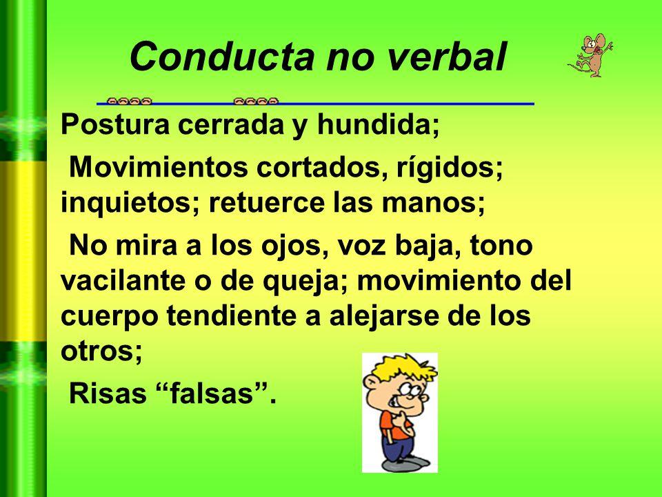 Conducta no verbal Postura cerrada y hundida;