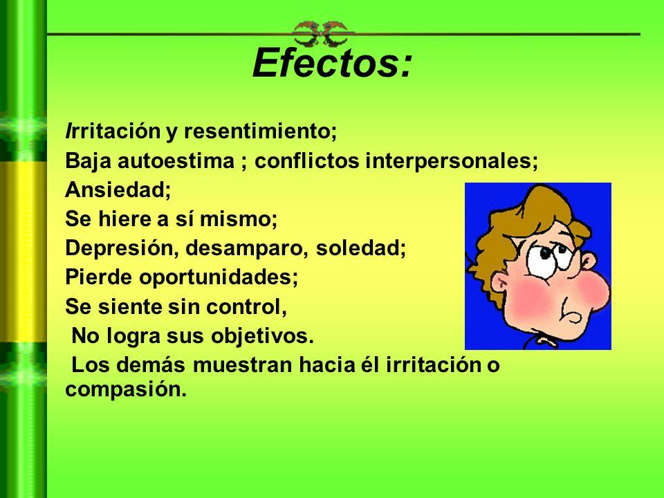 Efectos: Irritación y resentimiento;