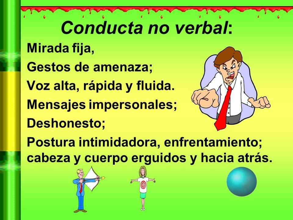 Conducta no verbal: Mirada fija, Gestos de amenaza;