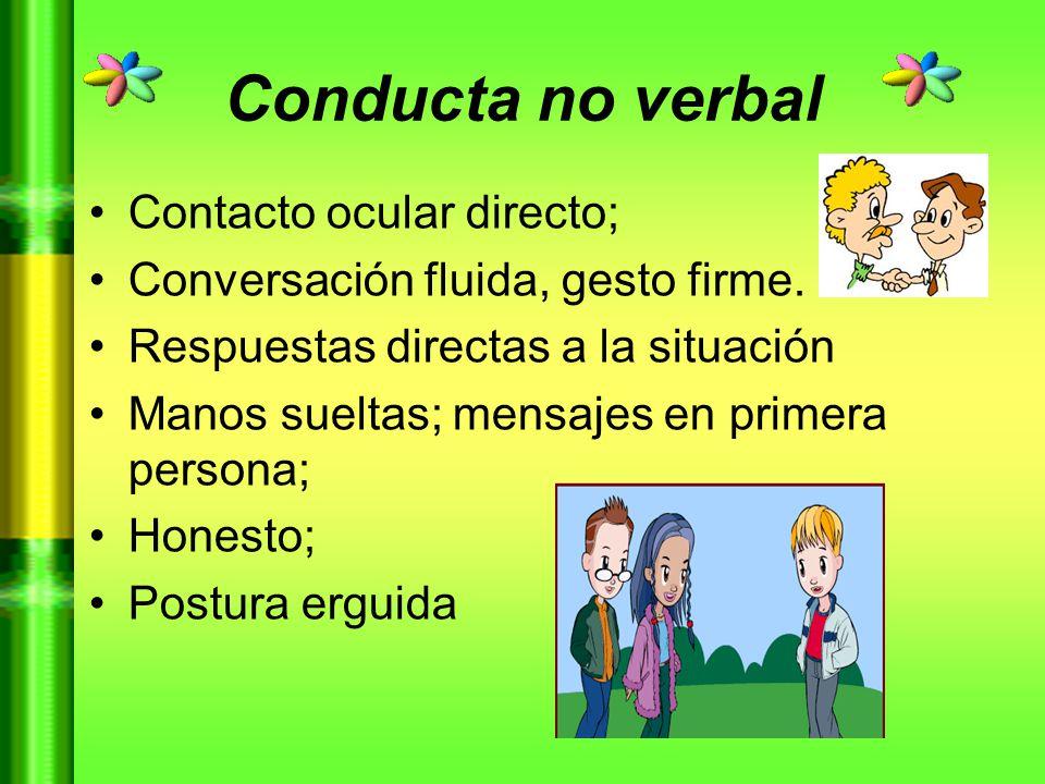 Conducta no verbal Contacto ocular directo;
