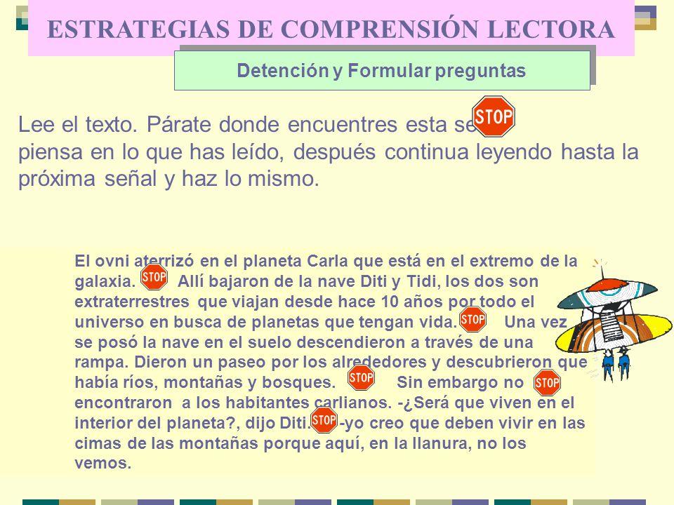 ESTRATEGIAS DE COMPRENSIÓN LECTORA Detención y Formular preguntas