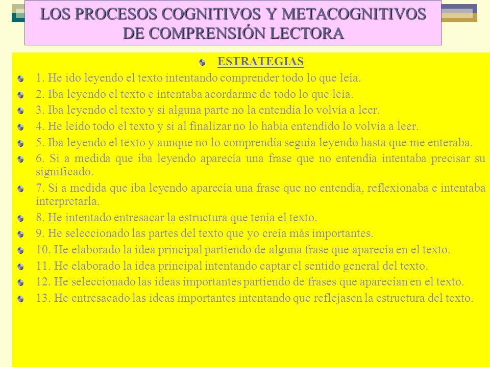 LOS PROCESOS COGNITIVOS Y METACOGNITIVOS DE COMPRENSIÓN LECTORA