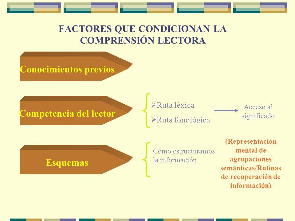 FACTORES QUE CONDICIONAN LA COMPRENSIÓN LECTORA