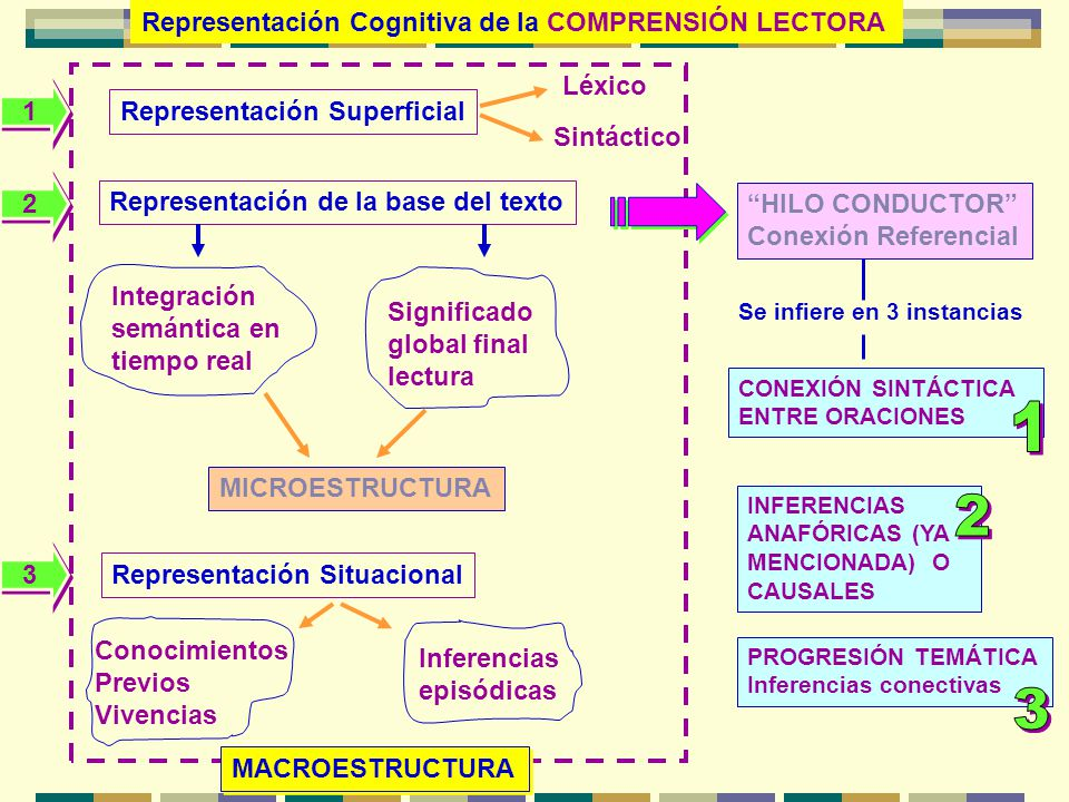 1 2 3 Representación Cognitiva de la COMPRENSIÓN LECTORA Léxico 1