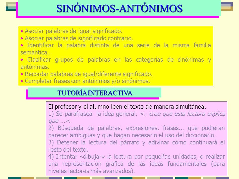 SINÓNIMOS-ANTÓNIMOS TUTORÍA INTERACTIVA