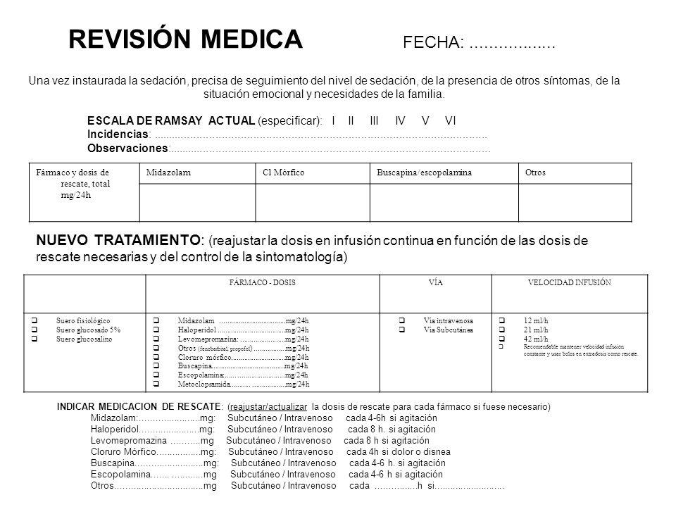 REVISIÓN MEDICA FECHA: ..................