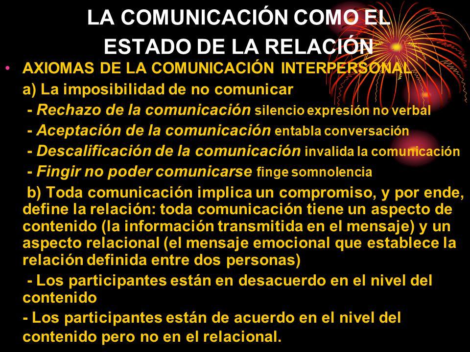 LA COMUNICACIÓN COMO EL ESTADO DE LA RELACIÓN