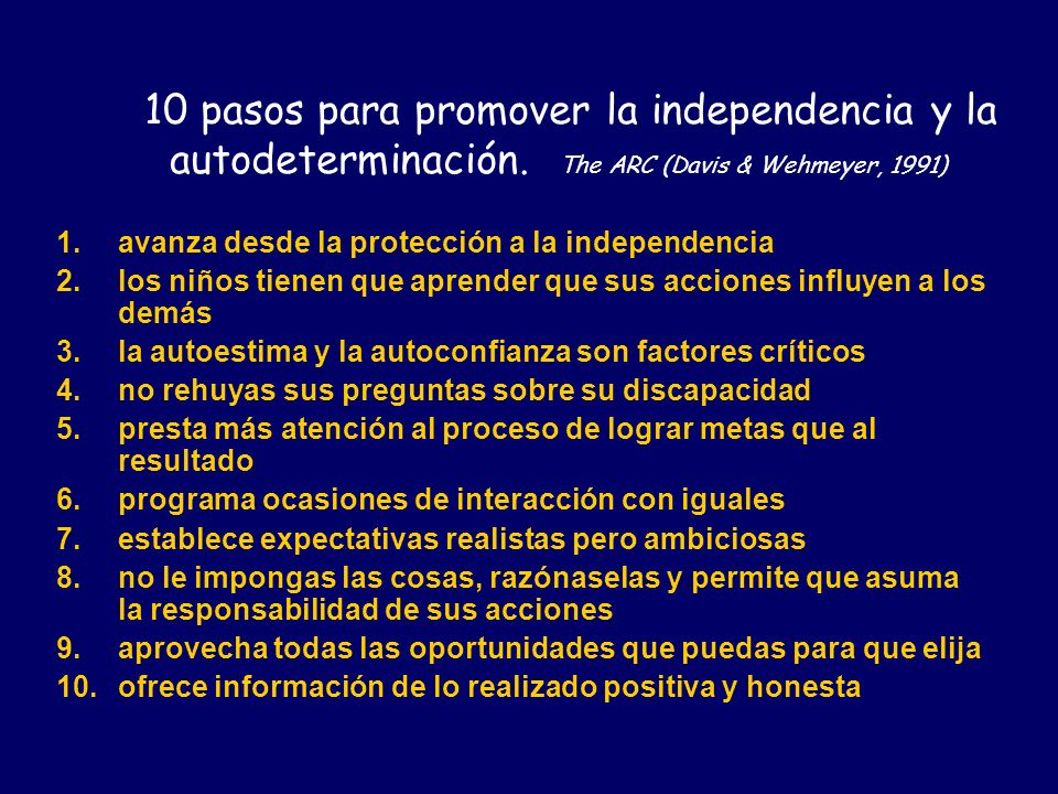 10 pasos para promover la independencia y la autodeterminación