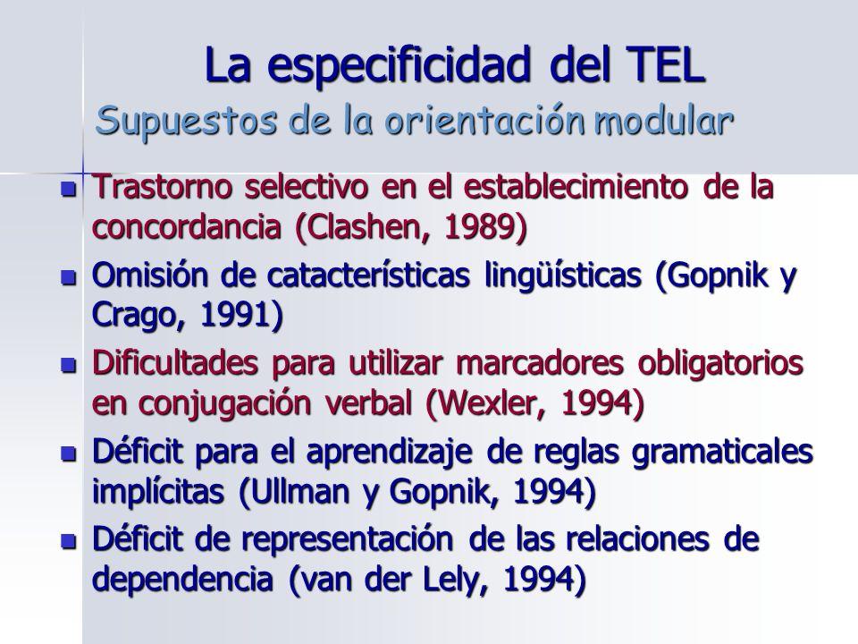 La especificidad del TEL